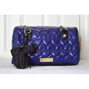 Betsey Johnson Blue Quilted Hearts Handbag